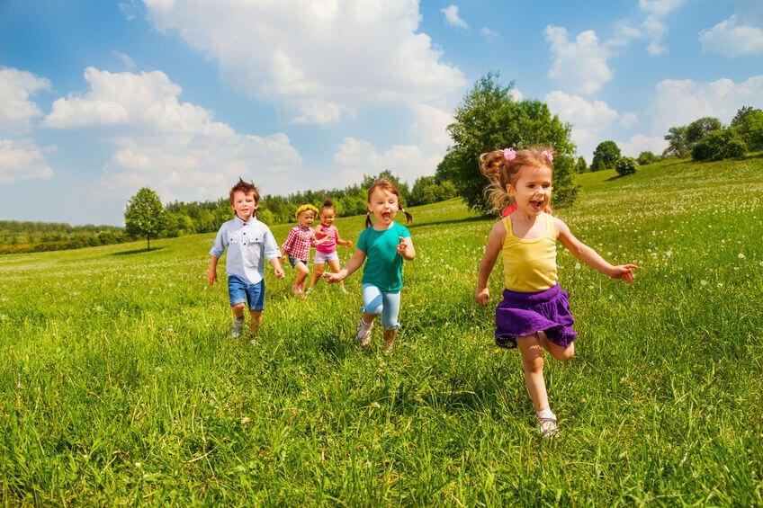 29409352 - running happy children in green field during summer time